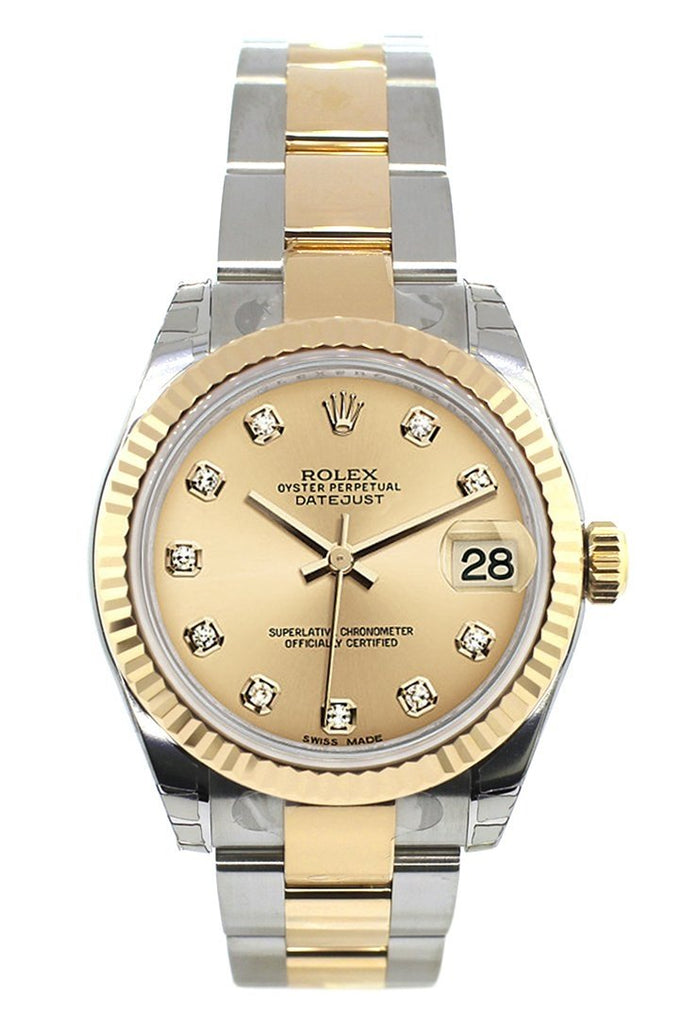 Rolex Datejust 31 Champagne Diamond Dial Fluted Bezel 18K Gold Two Tone Ladies 178273