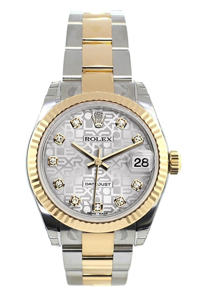 Rolex Datejust 31 Silver Jubilee Diamond Dial Fluted Bezel 18K Gold Two Tone Ladies 178273
