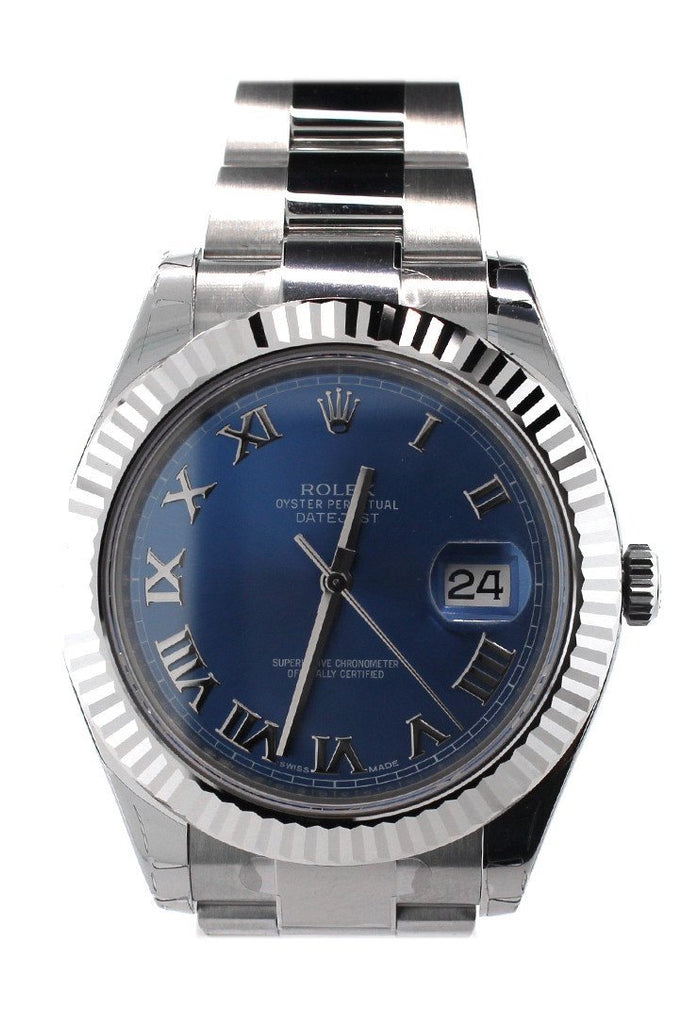 Rolex Datejust Ii 41 Blue Roman Dial 18Kt White Gold Fluted Bezel Mens Watch 116334