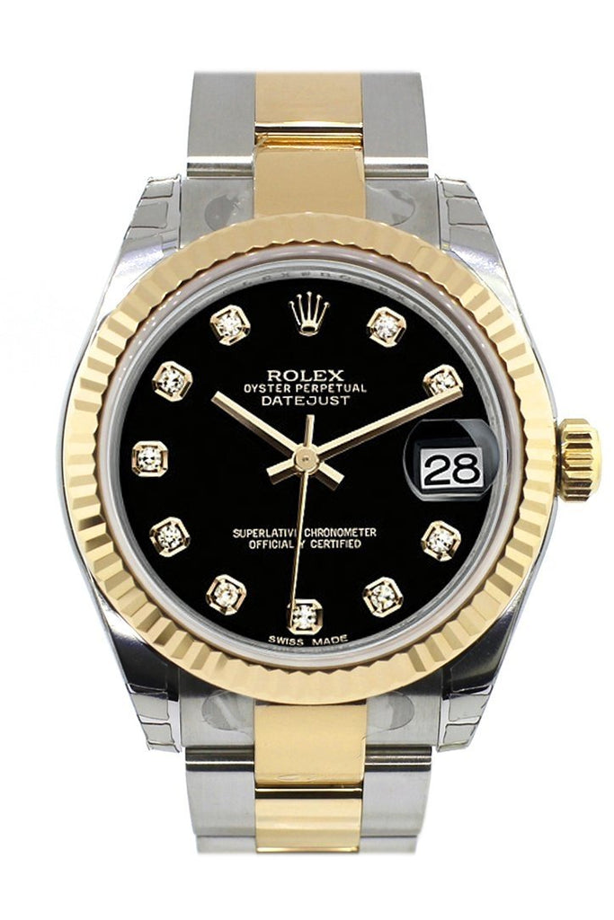 Rolex Datejust 31 Black Diamond Dial Fluted Bezel 18K Gold Two Tone Ladies 178273 / None Watch