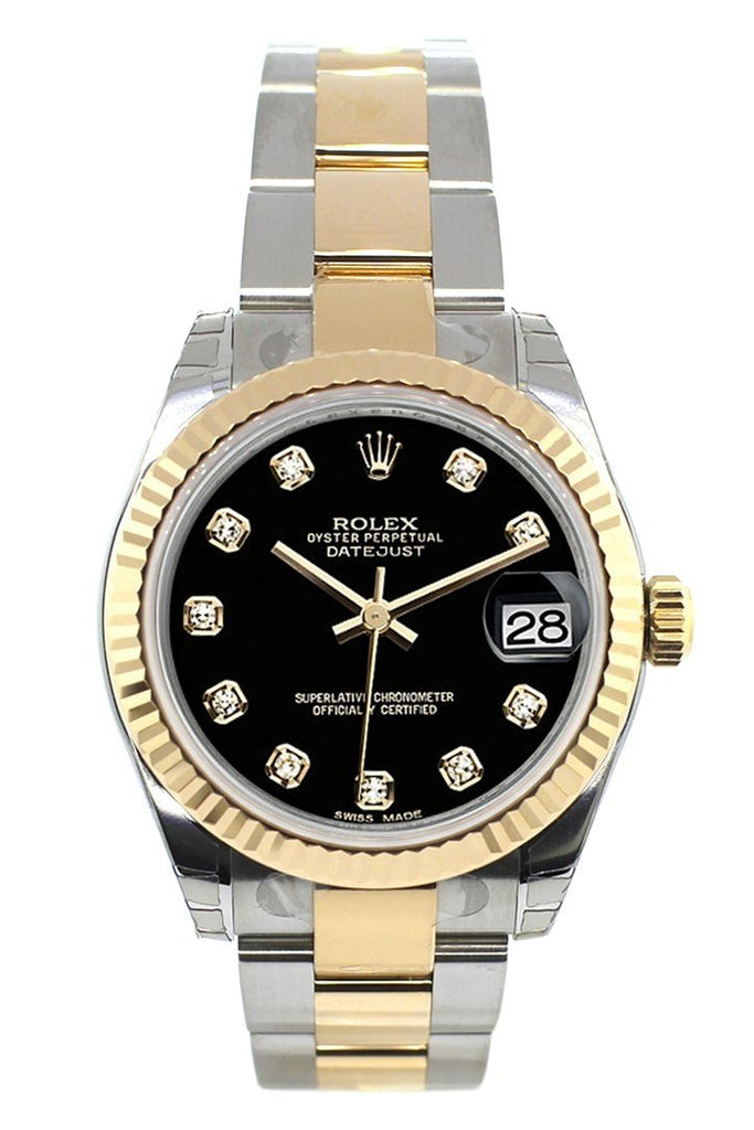 Rolex Datejust 31 Black Diamond Dial Fluted Bezel 18K Gold Two Tone Ladies 178273 Watch