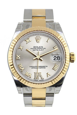 Rolex Datejust 31 Silver Roman Large Vi Diamond Dial Fluted Bezel 18K Gold Two Tone Ladies 178273 /