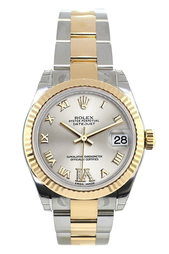 Rolex Datejust 31 Silver Roman Large Vi Diamond Dial Fluted Bezel 18K Gold Two Tone Ladies 178273