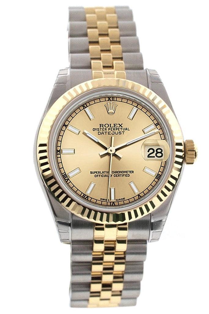 Rolex Datejust 31 Champagne Dial Fluted Bezel 18K Gold Two Tone Jubilee Ladies Watch 178273