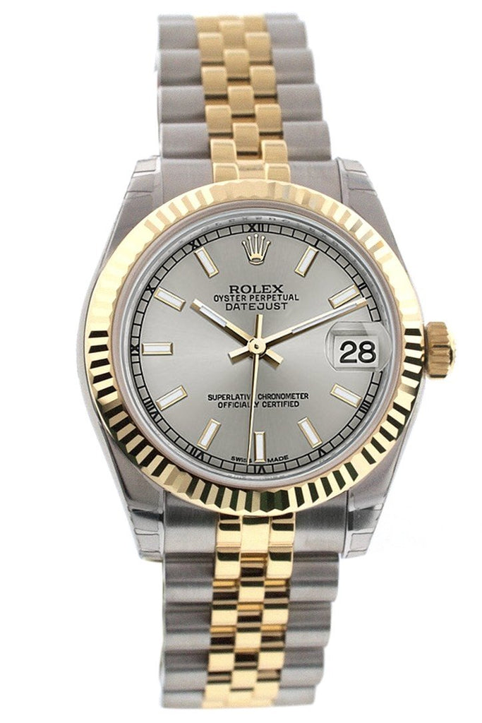 Rolex Datejust 31 Silver Dial Fluted Bezel 18K Gold Two Tone Jubilee Ladies 178273 Watch