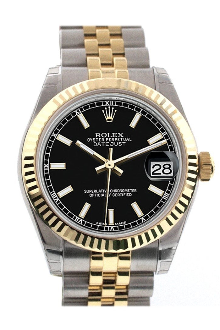 Rolex Datejust 31 Black Dial Fluted Bezel 18K Gold Two Tone Jubilee Ladies 178273