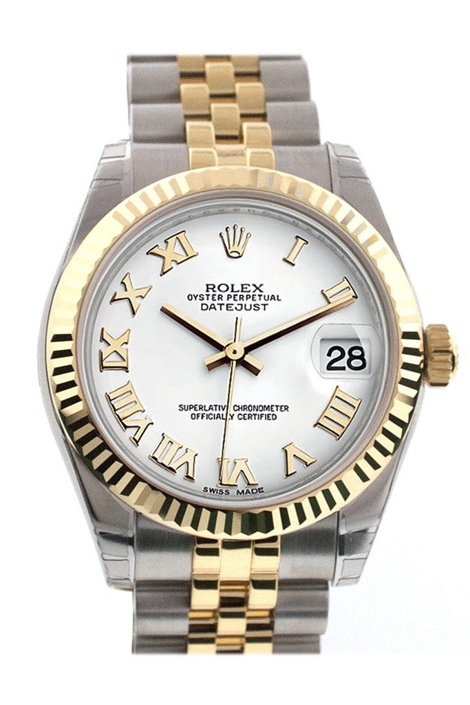 Rolex Datejust 31 White Roman Dial Fluted Bezel 18K Gold Two Tone Jubilee Ladies 178273 Watch