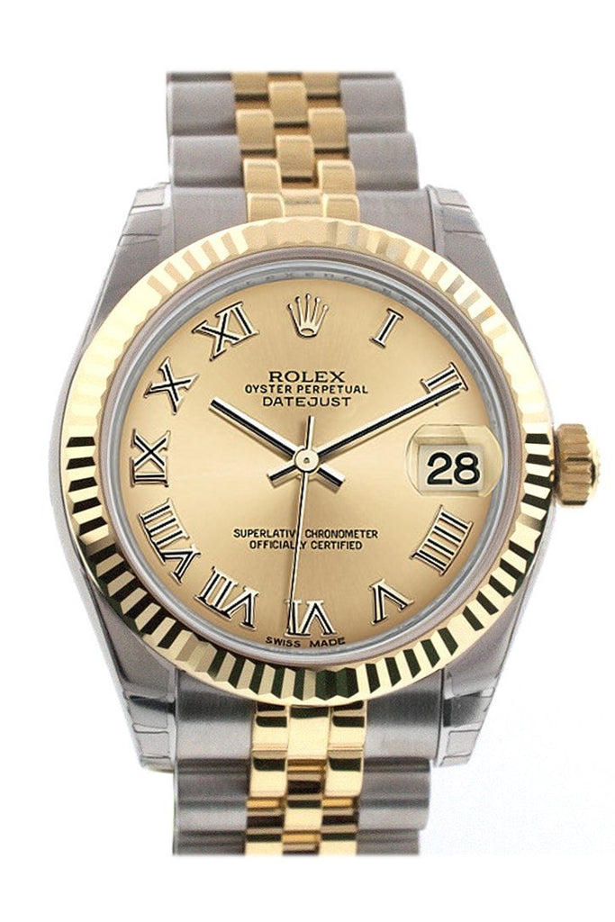 Rolex Datejust 31 Champagne Roman Dial Fluted Bezel 18K Gold Two Tone Jubilee Ladies 178273 / None