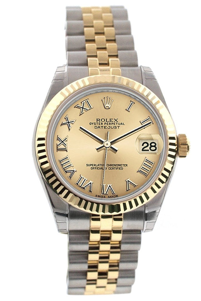 Rolex Datejust 31 Champagne Roman Dial Fluted Bezel 18K Gold Two Tone Jubilee Ladies 178273 Watch