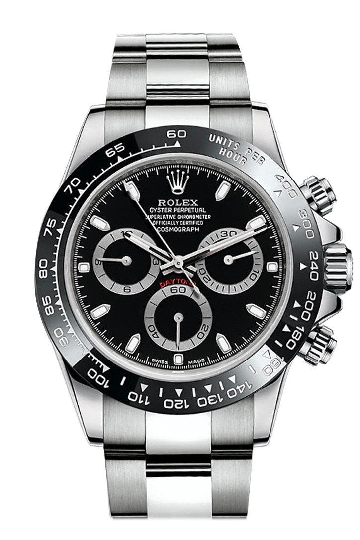 Rolex Cosmograph Daytona 40 Black Dial Stainless Steel Oyster Mens Watch 116500Ln