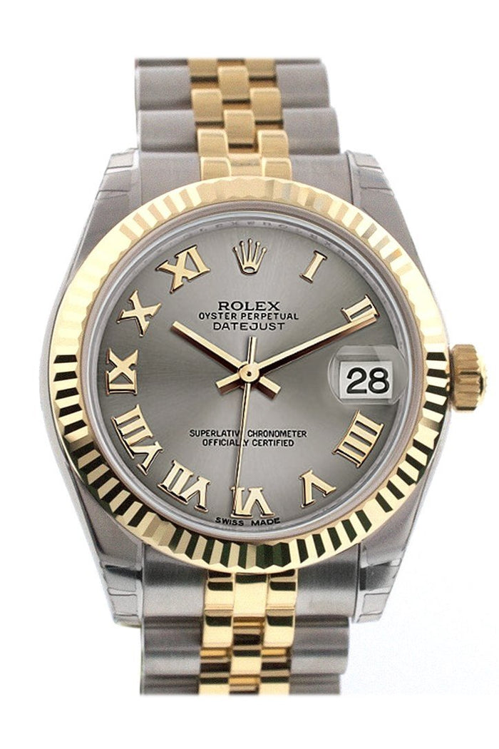 Rolex Datejust 31 Steel Roman Dial Fluted Bezel 18K Gold Two Tone Jubilee Ladies 178273