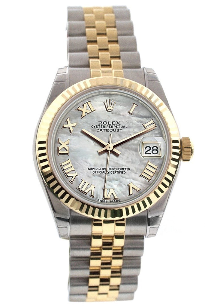 Rolex Datejust 31 Mother Of Pearl Roman Dial Fluted Bezel 18K Gold Two Tone Jubilee Ladies 178273