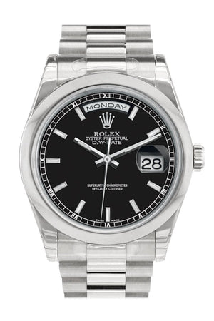 Rolex Day Date 36 Black Dial President Mens Watch 118206