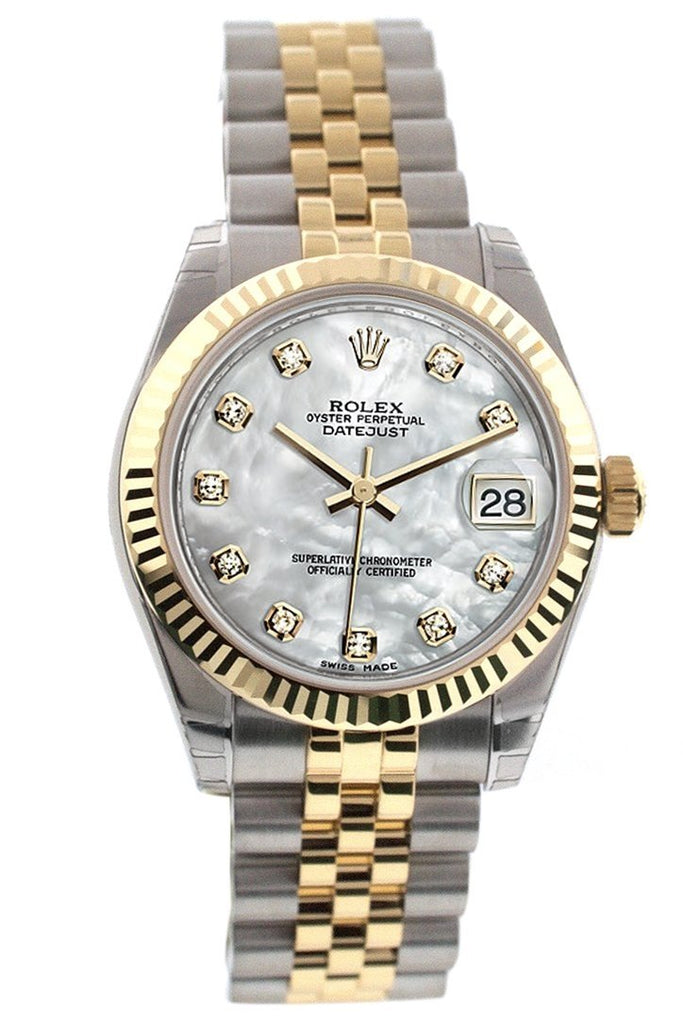 Rolex Datejust 31 Mother of Pearl Diamonds Dial Fluted Bezel 18K Gold Two Tone Jubilee Ladies 178273