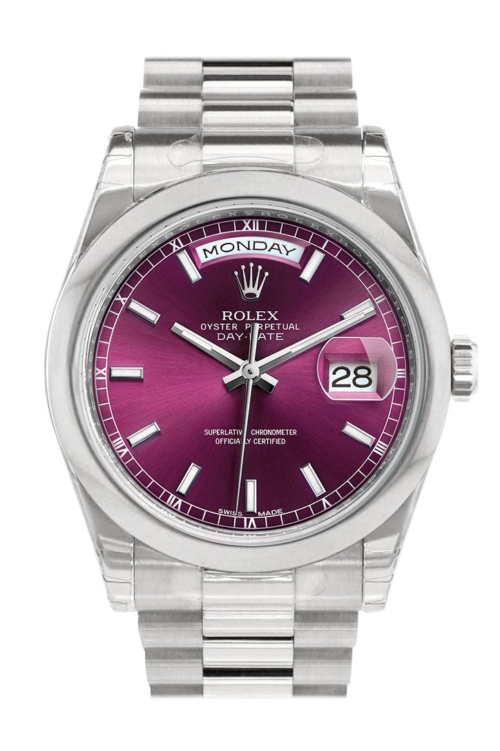 Rolex Day Date 36 Cherry Dial President Mens Watch 118206