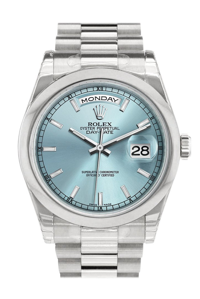 Rolex Day Date 36 Ice Blue Dial President Mens Watch 118206