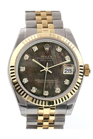 Rolex Datejust 31 Black Mother Of Pearl Diamonds Dial Fluted Bezel 18K Gold Two Tone Jubilee Ladies
