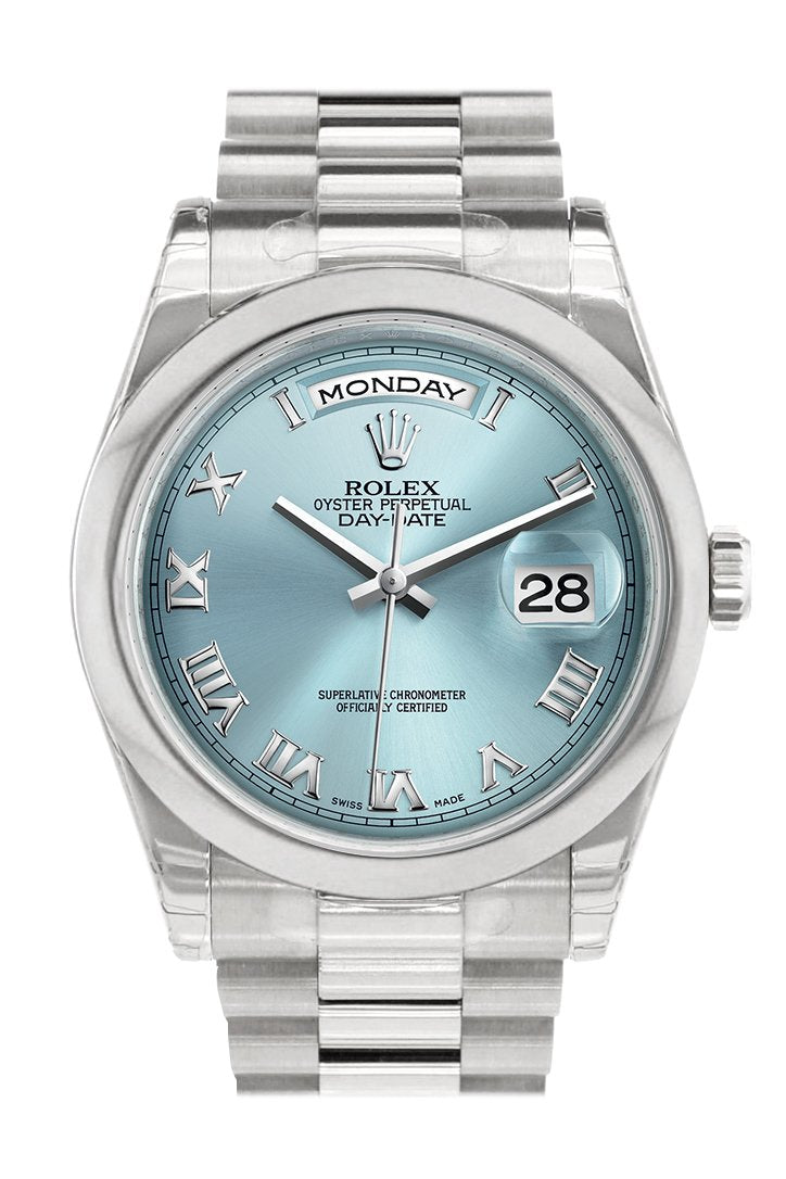 Rolex Day Date 36 Ice Blue Roman Dial President Mens Watch 118206