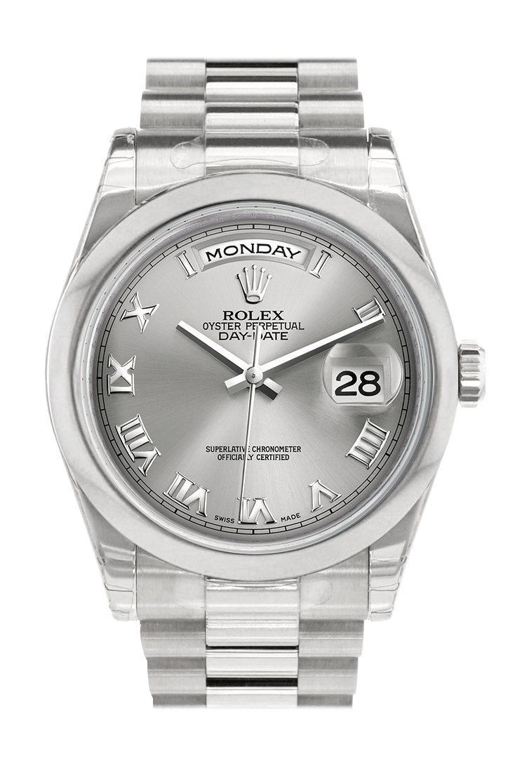Rolex Day Date 36 Rhodium Roman Dial President Mens Watch 118206