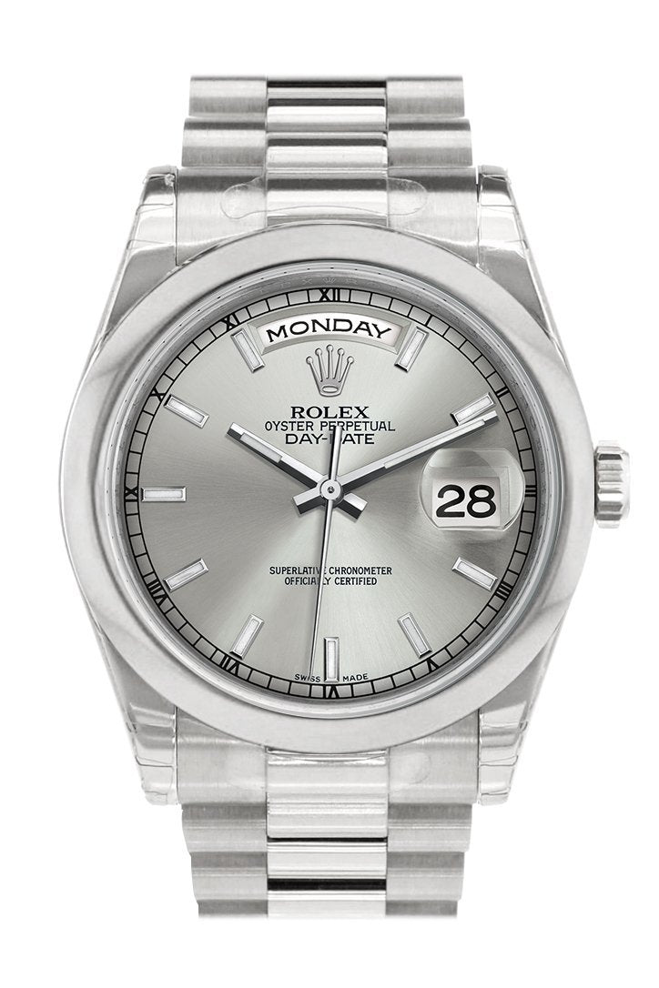 Rolex Day Date 36 Silver Dial President Mens Watch 118206