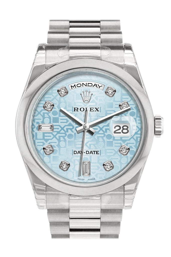 Rolex Day Date 36 Ice Blue Jubilee Design Set With Diamonds Dial President Mens Watch 118206