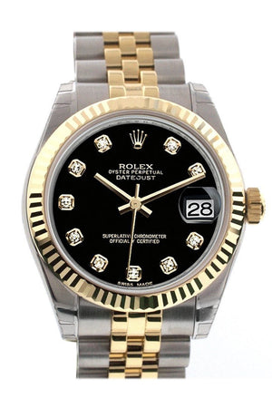 Rolex Datejust 31 Black Diamond Dial Fluted Bezel 18K Gold Two Tone Jubilee Ladies 178273 / None