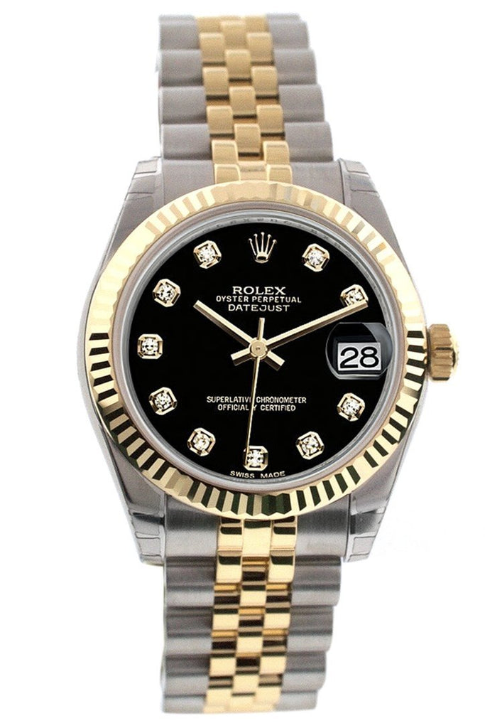 Rolex Datejust 31 Black Diamond Dial Fluted Bezel 18K Gold Two Tone Jubilee Ladies 178273