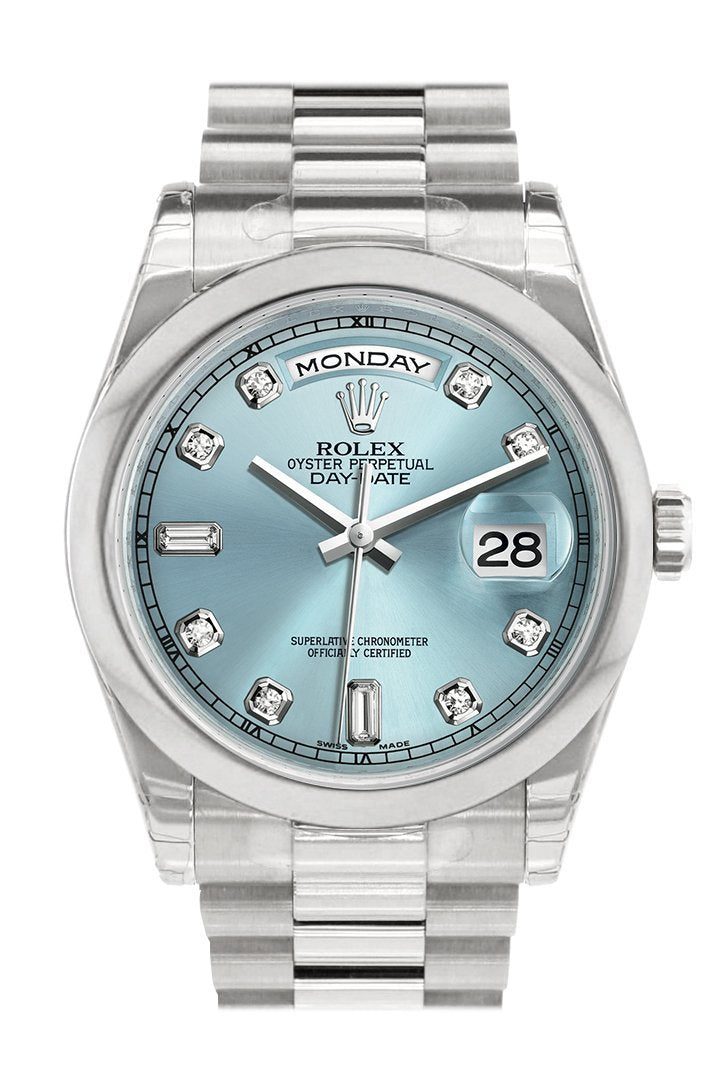 Rolex Day Date 36 Ice Blue Set Diamonds Dial President Mens Watch 118206