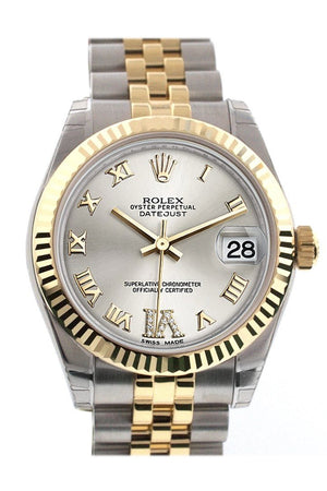 Rolex Datejust 31 Silver Roman Large Vi Diamond Dial Fluted Bezel 18K Gold Two Tone Jubilee Ladies