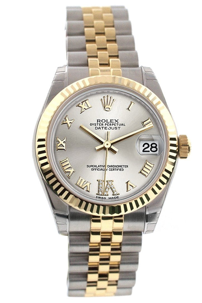 Rolex Datejust 31 Silver Roman Large VI Diamond Dial Fluted Bezel 18K Gold Two Tone Jubilee Ladies 178273