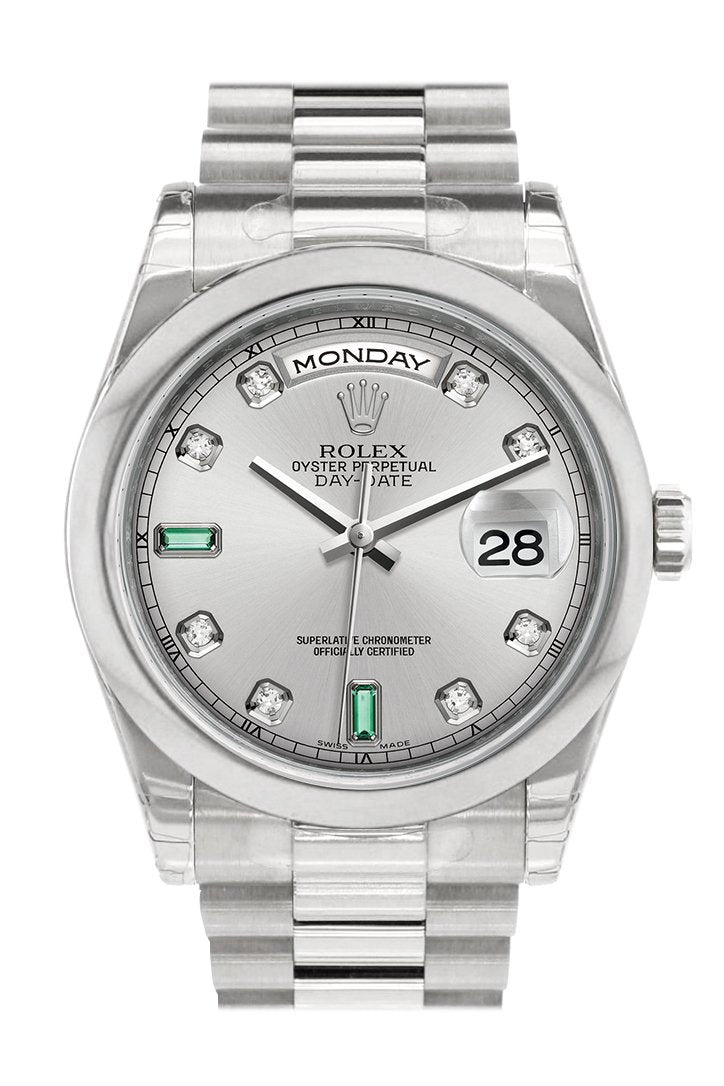 Rolex Day Date 36 Rhodium Diamonds Emeralds Dial President Mens Watch 118206
