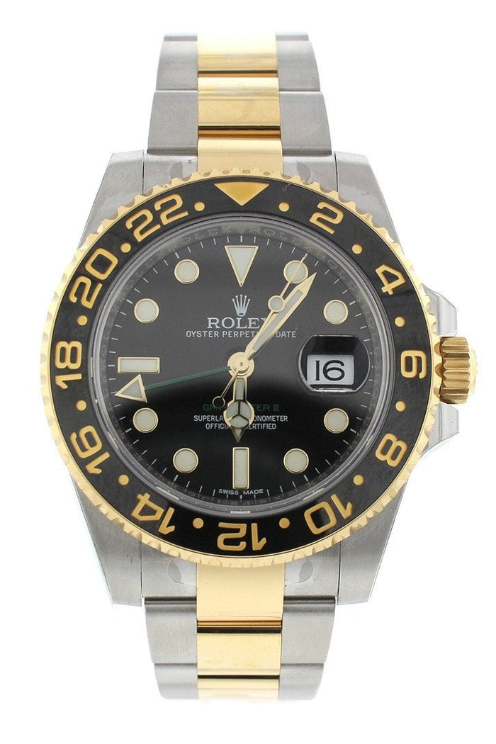 ROLEX 116713 GMT Master II 40 Gold Black Dial Men's Watch | WatchGuyNYC