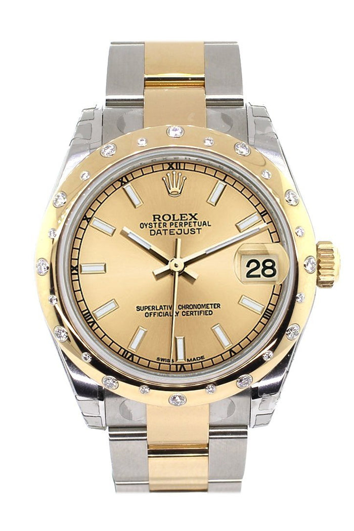 Rolex Datejust 31 Champagne Dial Diamond Bezel 18K Gold Two Tone Ladies Watch 178343