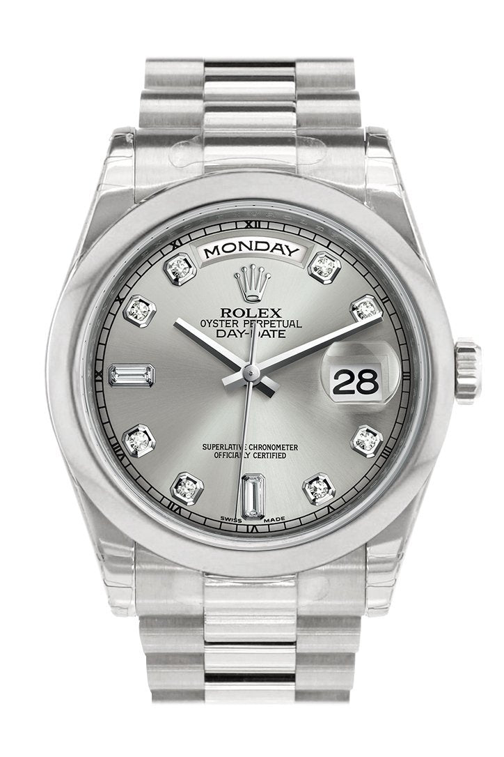 Rolex Day Date 36 Silver Set With Diamonds Dial President Mens Watch 118206