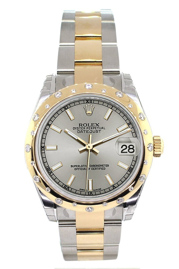 Rolex Datejust 31 Silver Dial Diamond Bezel 18K Gold Two Tone Ladies 178343