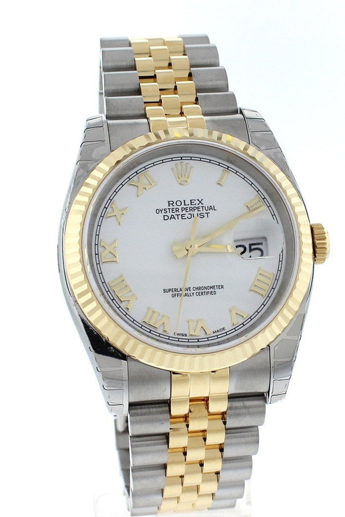 Rolex116233 Datejust 36 White Roman Dial 18k White Gold Ladies Men's Watch | WatchGuyNYC