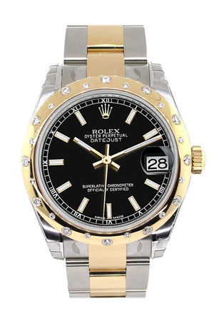 Rolex Datejust 31 Black Dial Diamond Bezel 18K Gold Two Tone Ladies 178343 / None Watch
