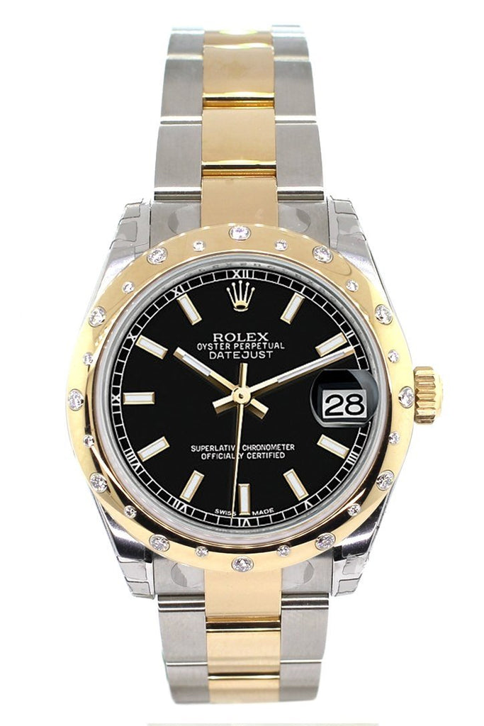 Rolex Datejust 31 Black Dial Diamond Bezel 18K Gold Two Tone Ladies 178343 Watch