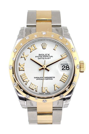 Rolex Datejust 31 White Roman Dial Diamond Bezel 18K Gold Two Tone Ladies 178343 / None Watch