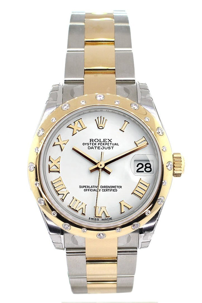 Rolex Datejust 31 White Roman Dial Diamond Bezel 18K Gold Two Tone Ladies 178343