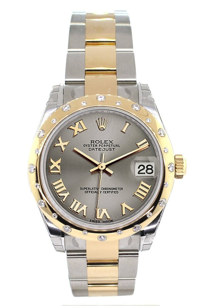 Rolex Datejust 31 Steel Roman Dial FlDiamond uted Bezel 18K Gold Two Tone Ladies 178343