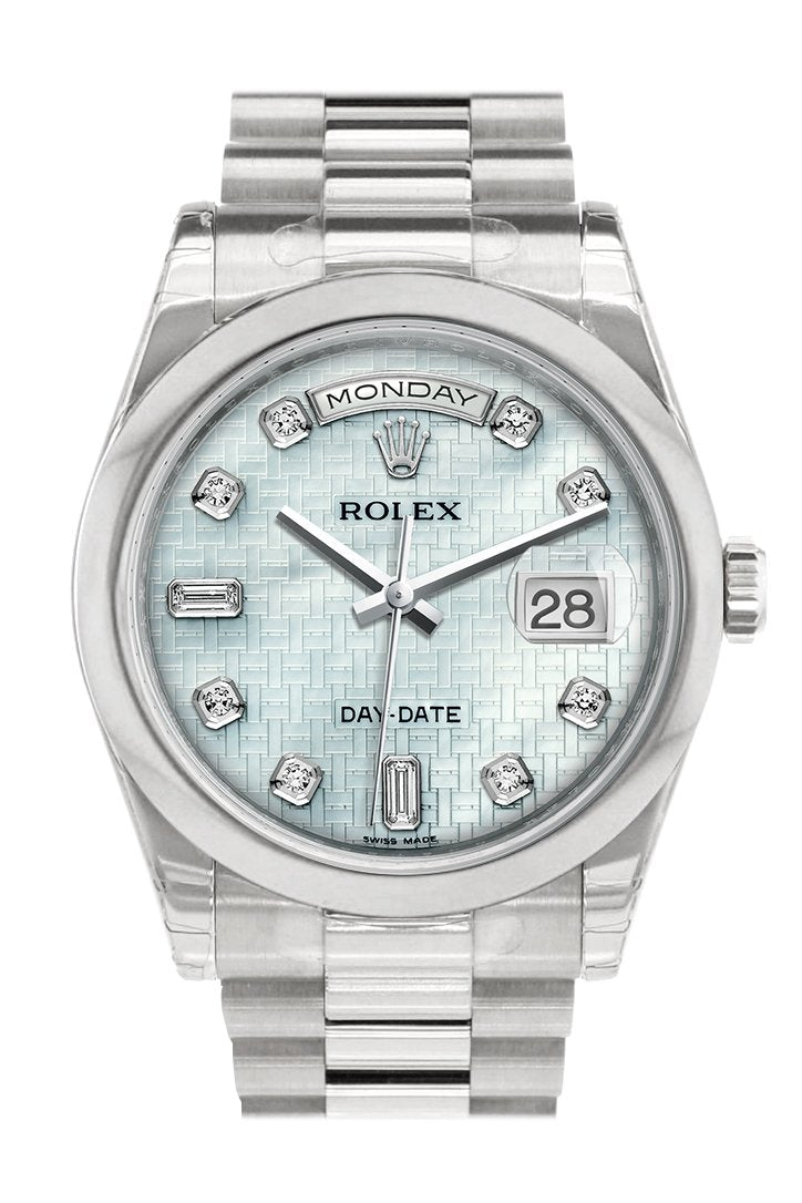 Rolex Day Date 36 Platinum Mother Of Pearl With Oxford Motif Set Diamonds Dial President Mens Watch