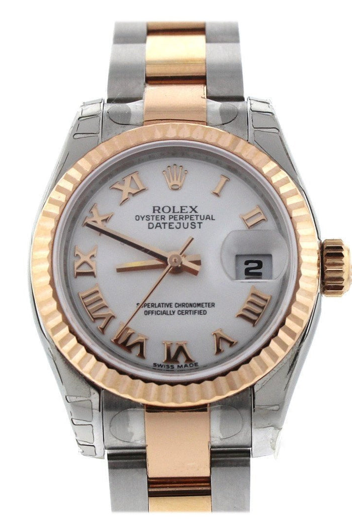 Rolex Datejust 26 White Roman Dial Rose Gold Ladies Watch 179171