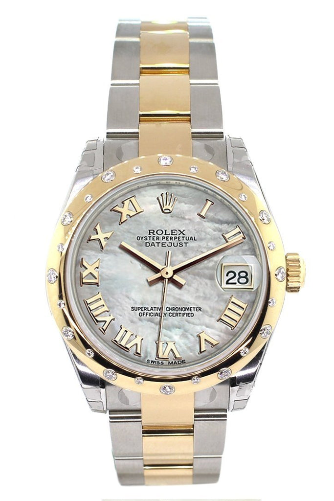 Rolex Datejust 31 Mother of Pearl Roman Dial Diamond Bezel 18K Gold Two Tone Ladies 178343