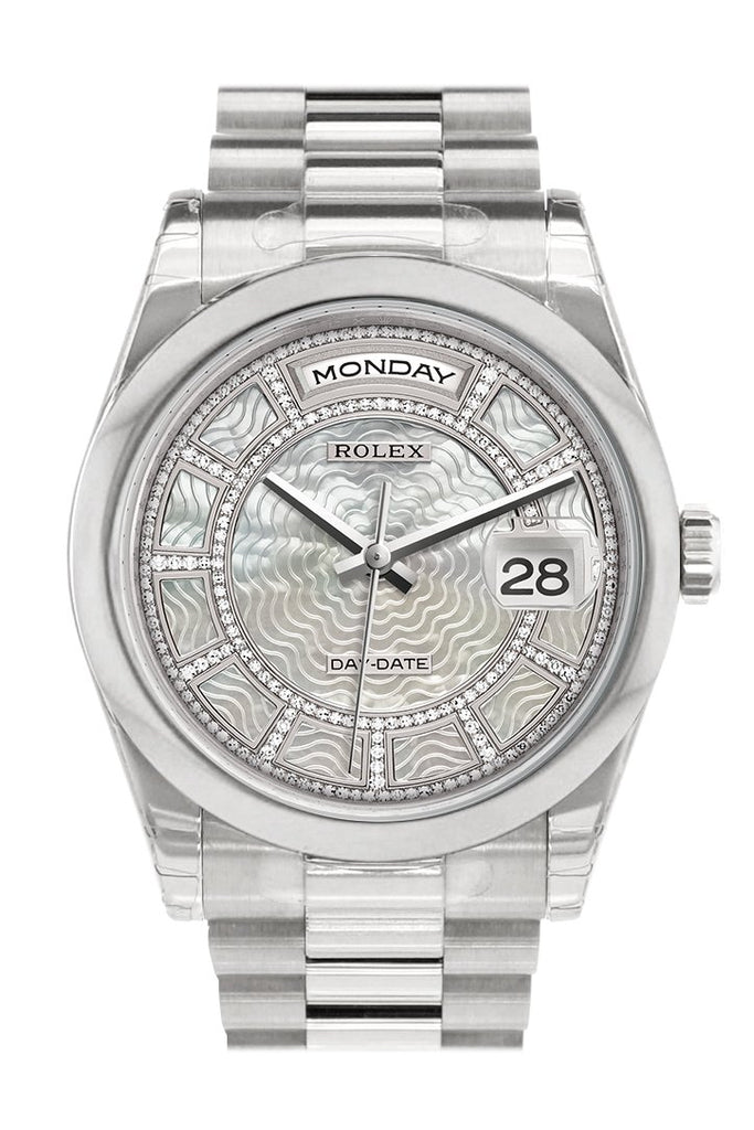 Rolex Day Date 36 Carousel Of White Mother Pearl Dial President Mens Watch 118206