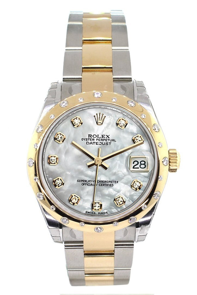 Rolex Datejust 31 Mother of Pearl Diamonds Dial Diamond Bezel 18K Gold Two Tone Ladies 178343