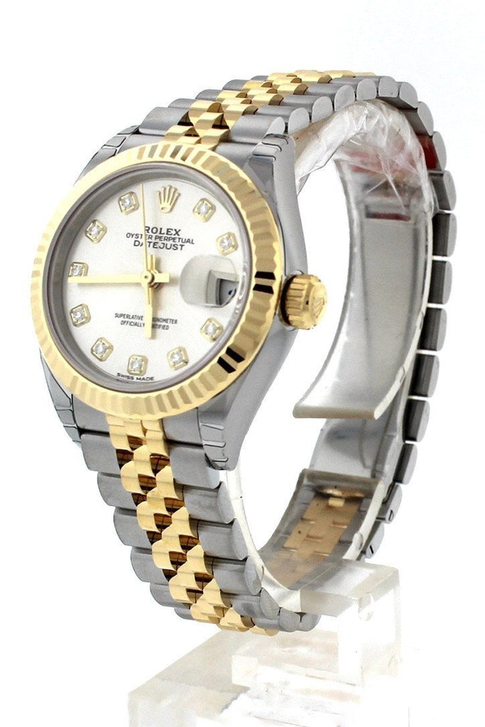 Rolex Datejust 28 Silver Diamond Dial Fluted Yellow Gold Two Tone Jubilee Ladies Watch 279173