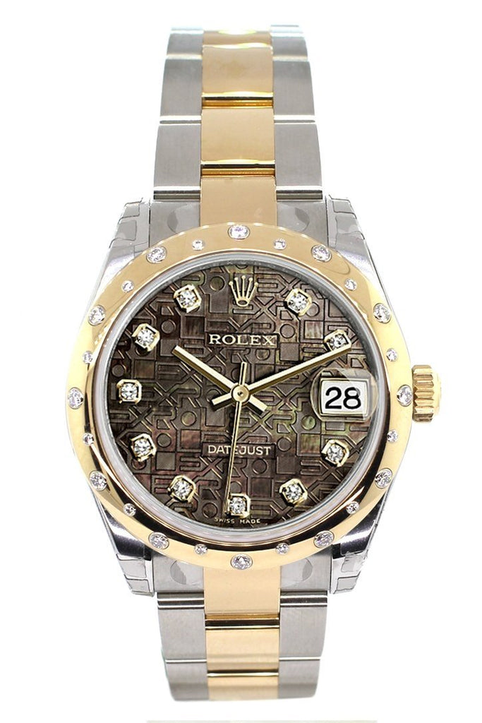 Rolex Datejust 31 Black Mother of Pearl Jubilee Diamonds Dial Diamond Bezel 18K Gold Two Tone Ladies 178343