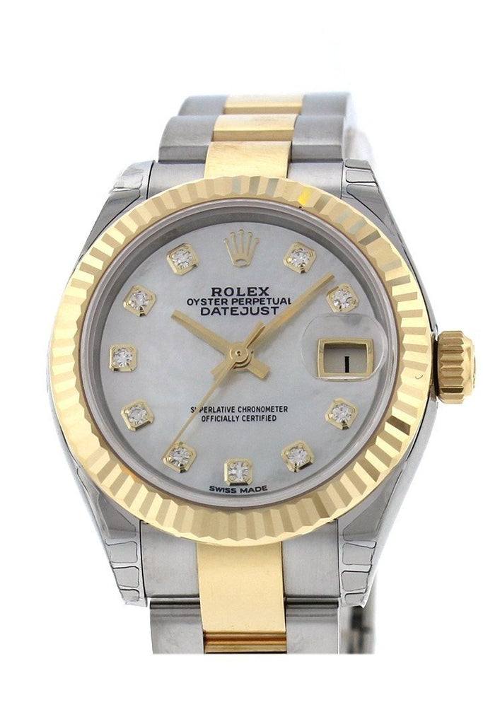 Rolex Datejust 28 Mother Of Pearl 9 Diamonds Set In Star Dial Fluted Yellow Gold Two Tone Ladies