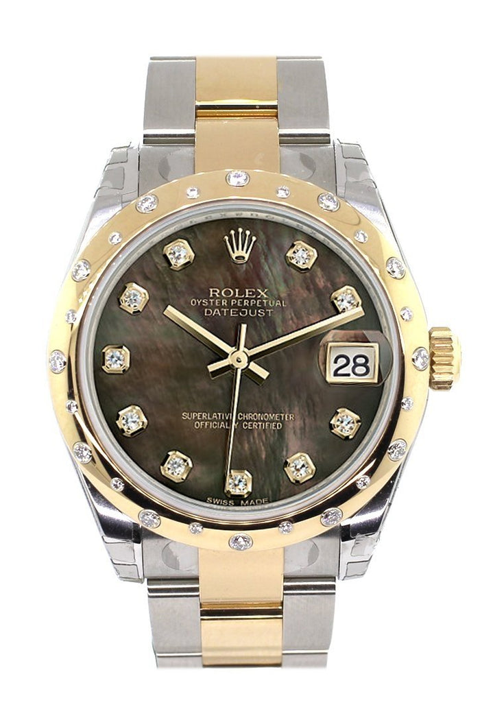 Rolex Datejust 31 Black Mother of Pearl Diamonds Dial Diamond Bezel 18K Gold Two Tone Ladies 178343